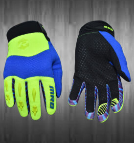 Lime Green / Blue Motocross Gloves