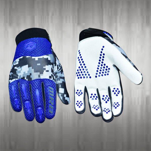 Dark Blue White Motocross Gloves