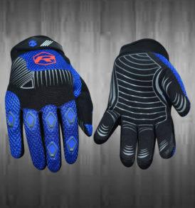 Dashing Blue and Black Motocross Gloves