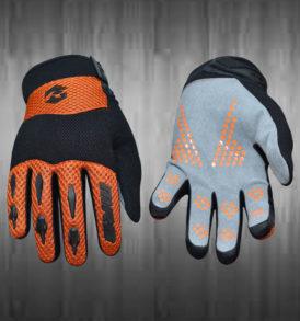 Orange and Grey Motocross Gloves