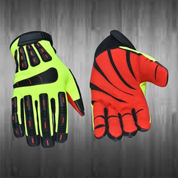 Lime Green / Orange Mechanic Gloves